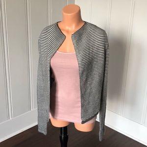 Express Stripe Textured Open Knit Sweater Cardi M
